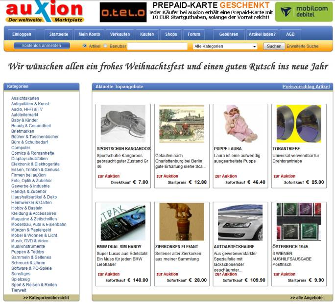 Auxion Website Screenshot im Jahr 2010