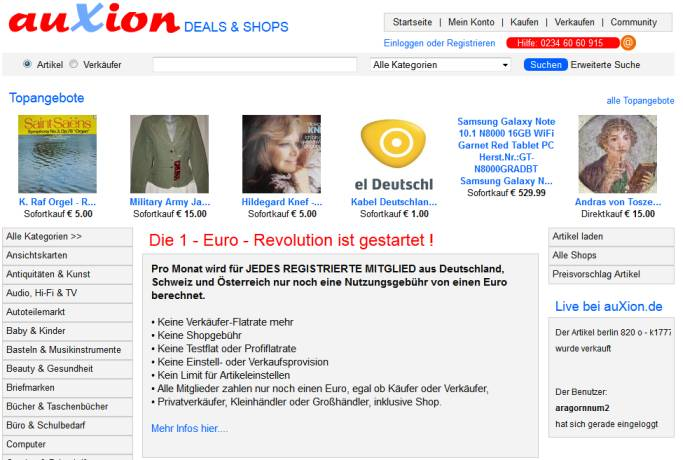 Auxion Website Screenshot im Jahr 2013